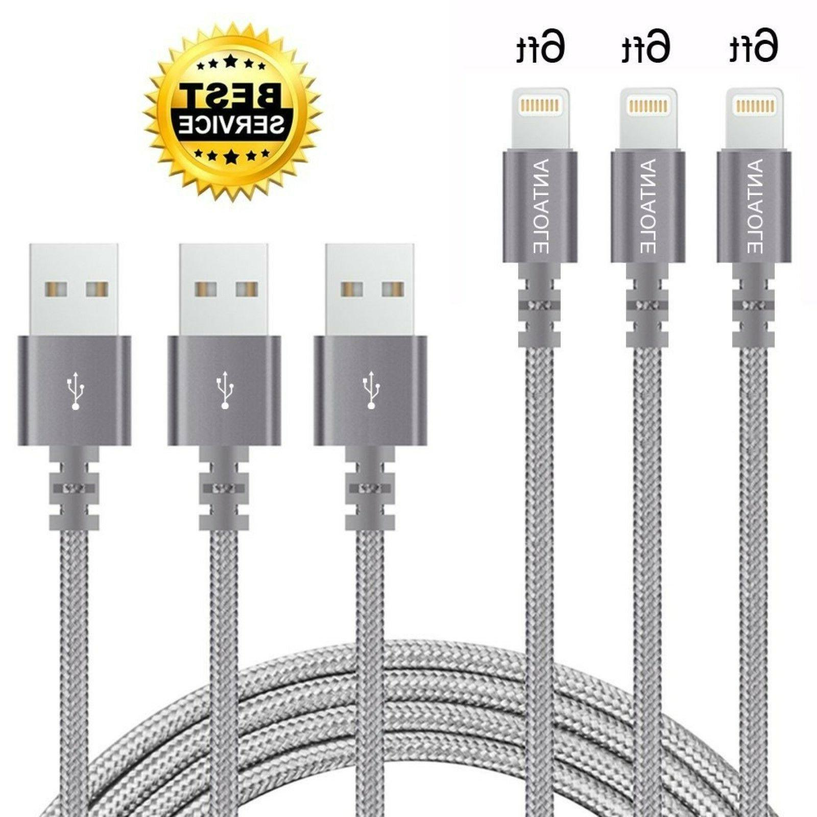 iPhone Charger Cable 3 Pack 6 Ft Nylon USB Lightning Cord Br