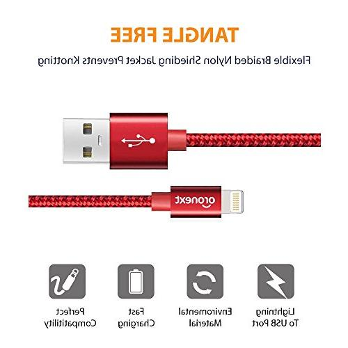 iPhone Cable, ORONEXT Cable, Nylon Braided to USB, iPhone Charger for iPhone X 6s / 5s 5c iPad Air Pro - - Red