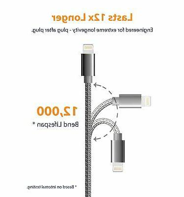 iPhone Cable, Lightning USB Cable Nylon Cord 3 x 3 Pack Gray
