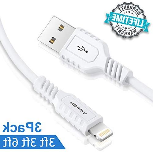 VIPFAN IPHONE CHARGER LIGHTNING CABLE 3 PACK WHITE BRAND NEW