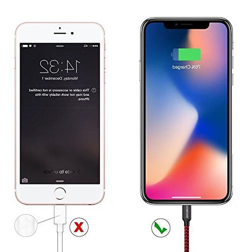 YUNSONG Nylon Cable Cord USB Cable Compatible Phone XS MAX XR 7 SE 5S