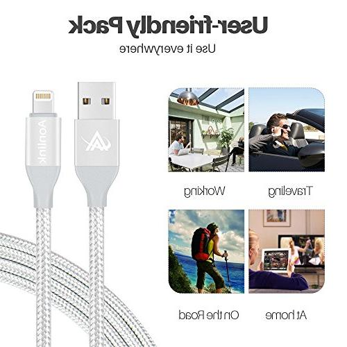 iPhone Charger,Lansen Lightning Charging Cable, Safety Defense, Nylon iPhone X Plus/ 7/7 Plus/5s-silver