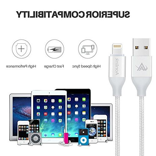 iPhone Charger,Lansen 3 Pack Lightning Charging Safety Ultra Durable Compatible with iPhone X Plus/ Plus
