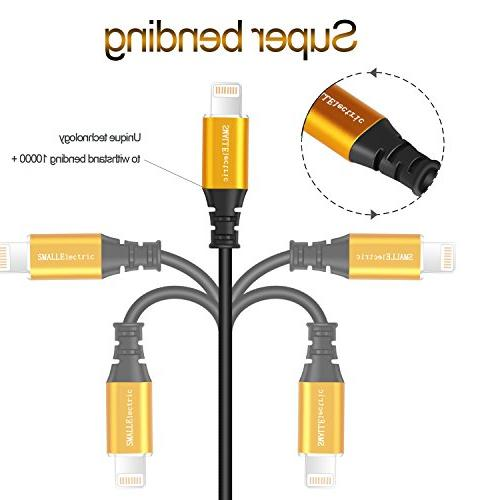 Lightning Charger 4-Pack, SMALLElectric to Cord for Apple / 8 Plus 7 6 / 6s plus 5s / 5c iPad/iPod, Gold/Black