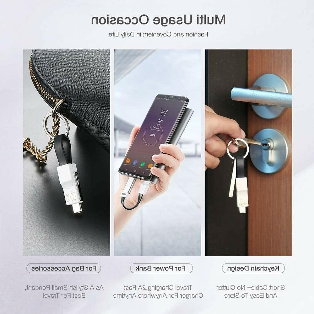 Lightning Keychain Charging Cable For iPhone/Android Micro/USB