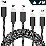 TNSO MFi Certified Phone Charger Cable 5Pack 3/3/6/6/10 FT N