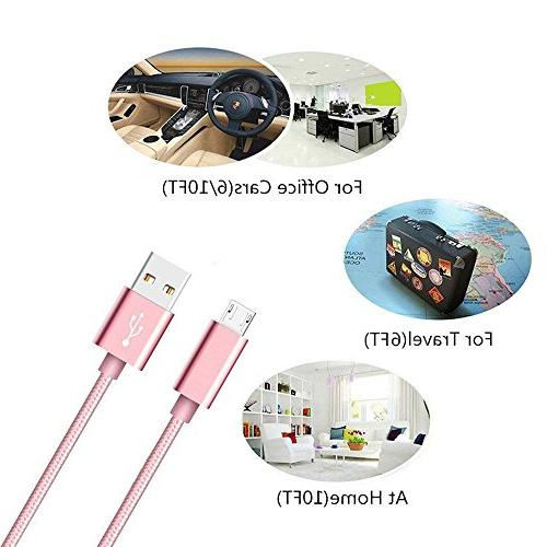 Nylon Cord High Sync Charging Rose Gold Samsung, HTC, Sony, LG, Nokia,