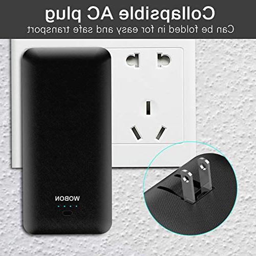 wobon Portable Charger 10000mAh Compact Power Bank External Battery and Light Battery Charger with AC and Micro Lightning Cable