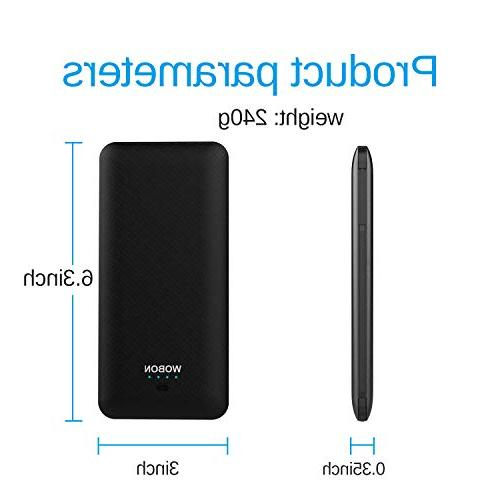wobon Portable 10000mAh Compact Power Bank Battery Ultra and Light with Built-in AC and Type-c Lightning