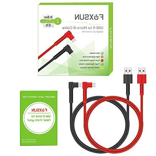 Right Angle Android Charging - Braided Cord Smartphones, Kindle,