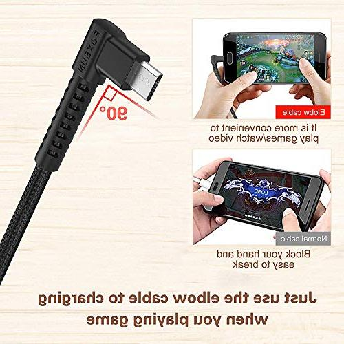 Right Android Cable - 90 Degree Braided Charging Smartphones, Kindle, More