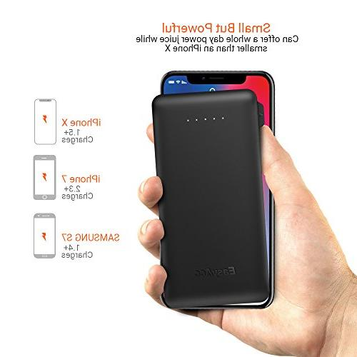 EasyAcc 6000mAH Power Bank with Built-in Lightning Cable ] External Pack iPhone X / Port Other USB