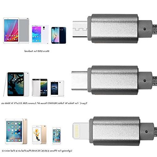 USB Type 3 in 1 Multiple Charging Cable Type C/8 Pin Connector Nexus 6P, 5X,Galaxy Edge more