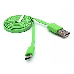 Life One X3 Compatible Green 3ft Flat Micro USB Cable Charge