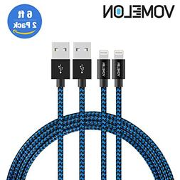 Lightning Cable, 2Pack 6FT Tangle-Free Nylon Braided Cord Li