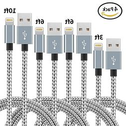 Lightning Cable,NANMING Charger Cables 4Pack 3FT 6FT 6FT 10F