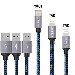 Lightning Cable, YUNSONG 3PACK  Nylon Braided Charging Cable