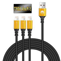 Lightning Cable 3Pack, 10FT Iphone Charger Cable, SMALLElect
