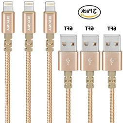 Begonia Nylon Braided USB Cable 3PACK  Phone Charger Fast Ch