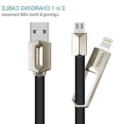 Lightning Cable, HXSABO 2-In-1 Lightning and Micro USB Cable