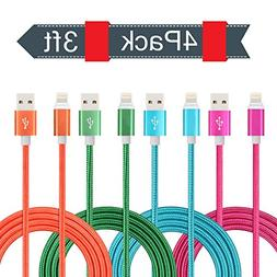 Lightning Cable 3ft, iPhone Cable, iPhone Charger 4 Pack 3ft