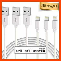 Lightning Cable Apple Mfi Certified 3Pack 6Ft Premium To USB