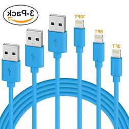 Lightning Cable, Quntis iPhone Charger 3PACK 3FT 6FT 10FT 8