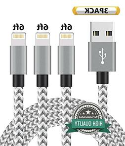 Youer Lightning Cable 3Pack 6FT Nylon Braided Certified iPho