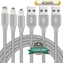 Youer Lightning Cable 3Pack 3FT 6FT 10FT Nylon Braided Certi