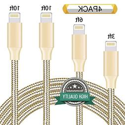 Youer Lightning Cable 4Pack 3FT 6FT 10FT 10FT Nylon Braided