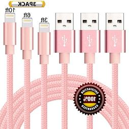 BULESK Lightning Cable 3Pack 3FT 6FT 10FT Nylon Braided Cert