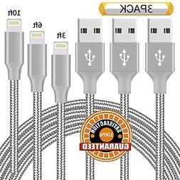 Chamfind Lightning Cable 3PACK 3FT 6FT 10FT USB Syncing and