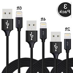 RoFI Lightning Cable 3Pack 2FT/4FT/6FT Premium Quality Wove