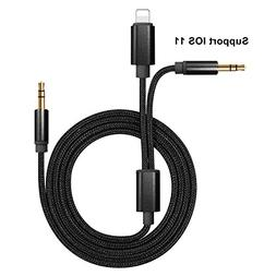 SAIWILL Lightning to 3.5mm Car Aux Cable, 3ft Nylon Braided