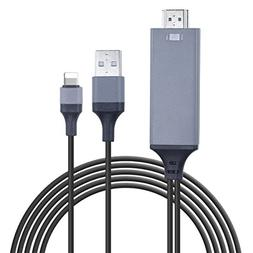 Lightning to HDMI,iPhone to HDMI Cable 1080P Digital AV Adap