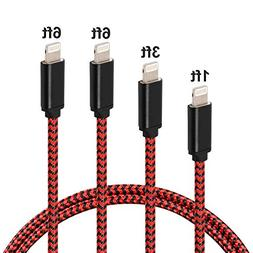 4 Pack 1/3 / 6/6 Feet Phone Charger Nylon Braided USB Cable