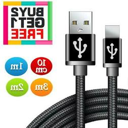 Long Braided USB Fast Charger Lightning Data Cable Lead For