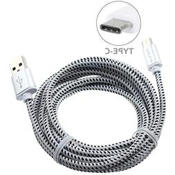 Premium 6ft Long White Braided Type-C Cable Rapid Charge USB