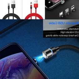 Magnetic LED Nylon Lightning Cable/Micro/Type C to USB Charg