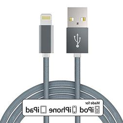 MFI Certified 10ft Long Braided Lightning to USB Cable Sync