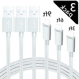 ChefzBest MFi Certified Phone Cable 3 Pack  Extra Long Nylon