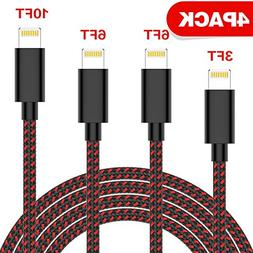TNSO MFi Certified Phone Cable 4 Pack  Extra Long Nylon Brai