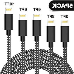TNSO MFi Certified Phone Cable 5Pack 3FT 3FT 6FT 6FT 10FT Ny