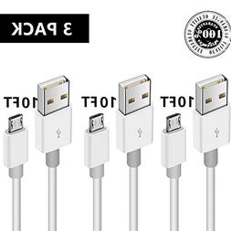 Micro USB to USB 2.0 Charging Cable, 3 Pack Android Phone Fa
