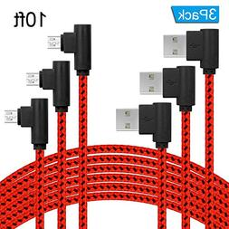 90 Degree Micro USB Cable 10ft of 3Pack,Right Angle USB Nylo