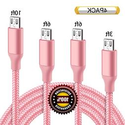 BULESK Micro USB Cable 4Pack 3FT 6FT 6FT 10FT 5000+ Bend Lif