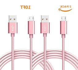 Micro USB Cable, Nylon Braided Android Charger Cord fast cha