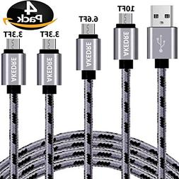 Micro USB Cable, AKEDRE 4Pack  Super-Durable Nylon-Braided A
