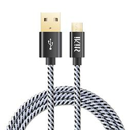 iKits Micro USB Cable, 4ft Nylon Braided High Speed Durable