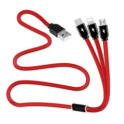 Multi Charger Cable 3A, 3 in 1 Multiple USB Syncing Data and